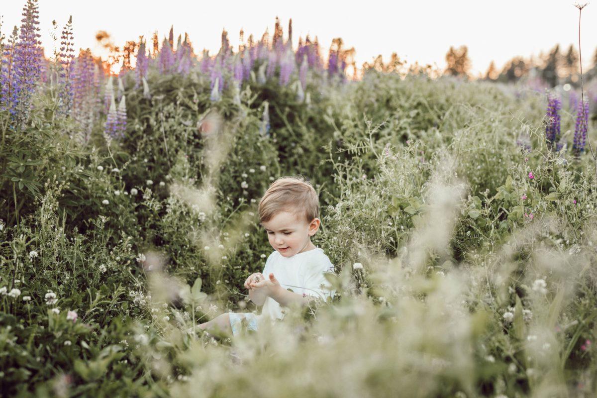 Bébé au printemps, dans un champ de fleurs